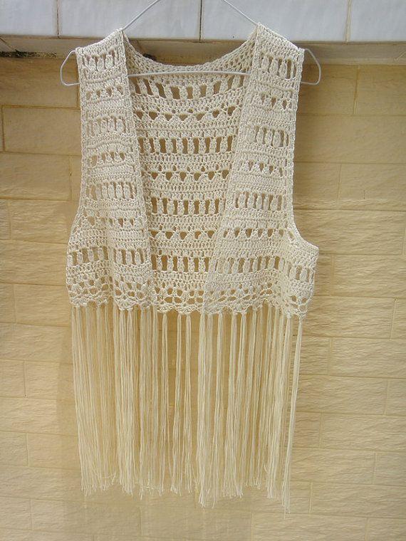 Boho Hippie Clothing Circle Crochet Vest Por Tinacrochetstudio