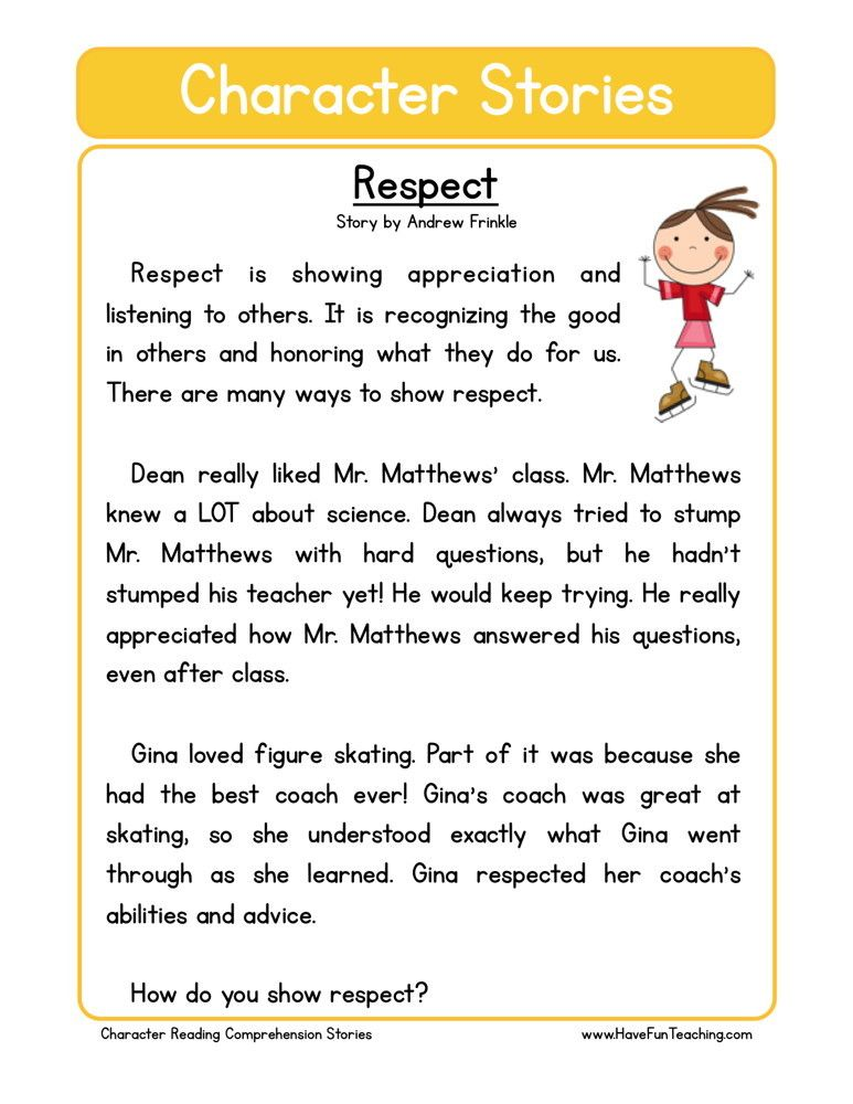 This Reading Comprehension Worksheet Respect Is For Teaching