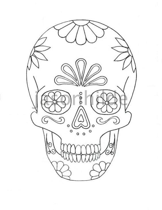 Tons Of Sweet Sugar Skull Free Coloring Pages For Grown Ups Skull Coloring Pages Sugar Skull Drawing Coloring Pages