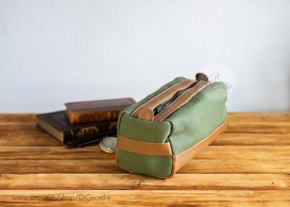 canvas dopp kit bag leather toiletry bag mens shaving kit bag leather dopp  bag leather dopp kit waxe b78e675f333ba