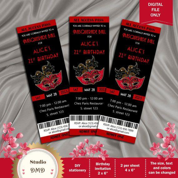 Masquarade Ball Birthday Invite Ticket Invitation Personalized – Masquerade Party Invitation Ideas