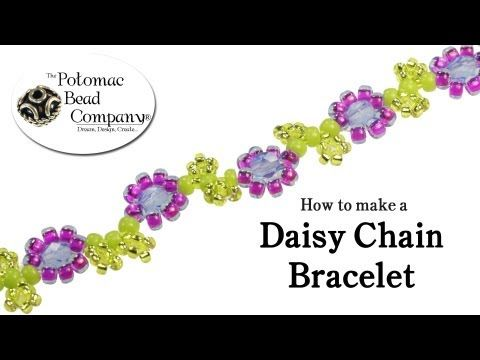 ▶ How to Make a Daisy Chain Bracelet - YouTube tutorial from The Potomac Bead Company http://www.potomacbeads.com - Buy jewelry-making supplies online: http://www.thebeadco.com