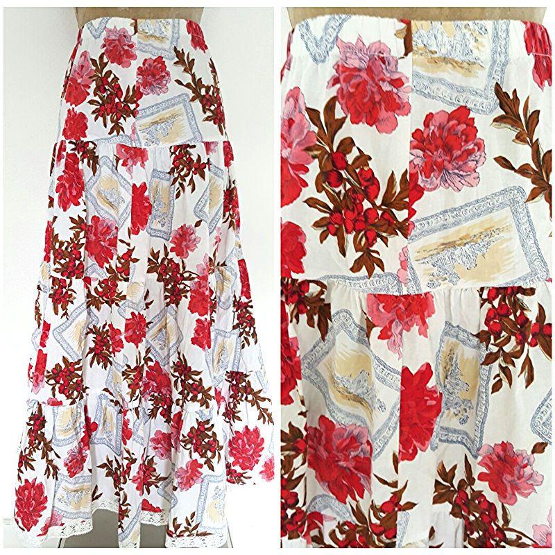 Vintage 80s Floral Skirt Size Medium Tiered Ruffle Full Long Maxi Cotton USA #KoalaBlue #FullSkirt