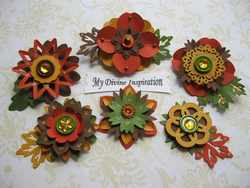Fall Paper Embellishments And Paper Flowers For Scrapbooking Cards