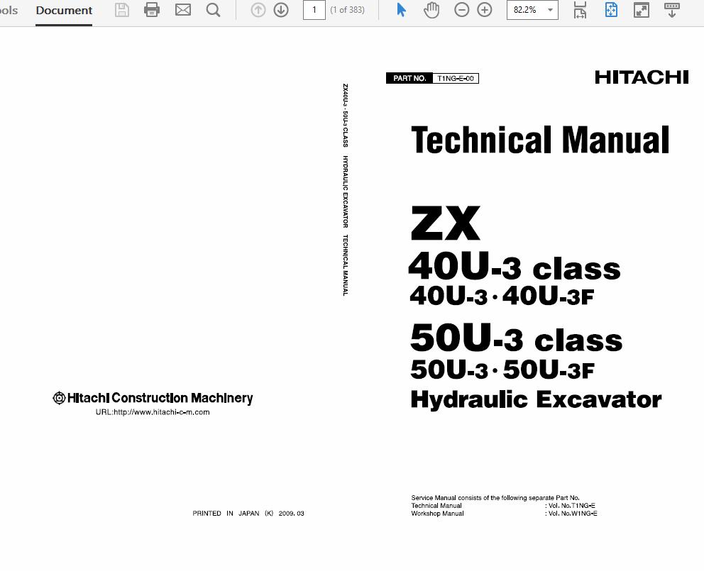 Hitachi ZX40U-3 and ZX50U-3 Excavator Service Manual