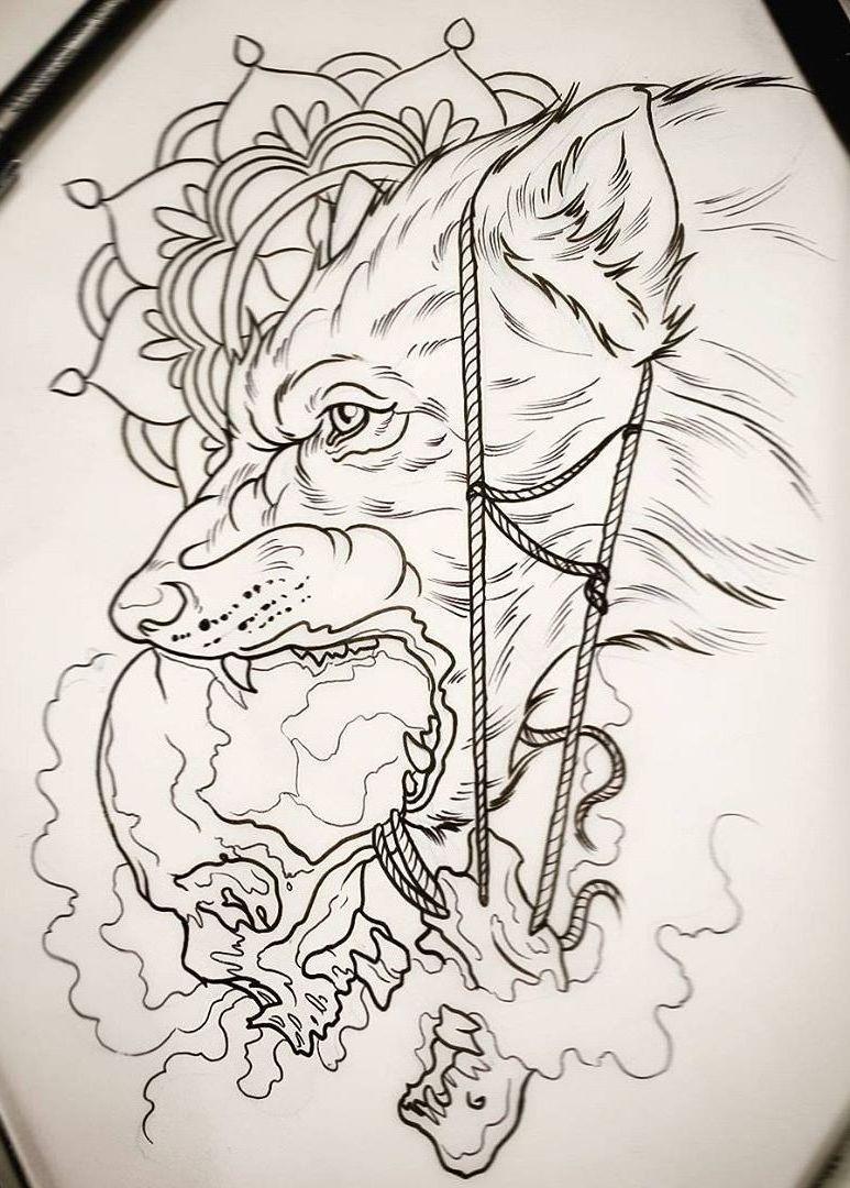 Line Art Wolf Tattoo: Wolf Tattoos, Tattoo Designs, Wolf