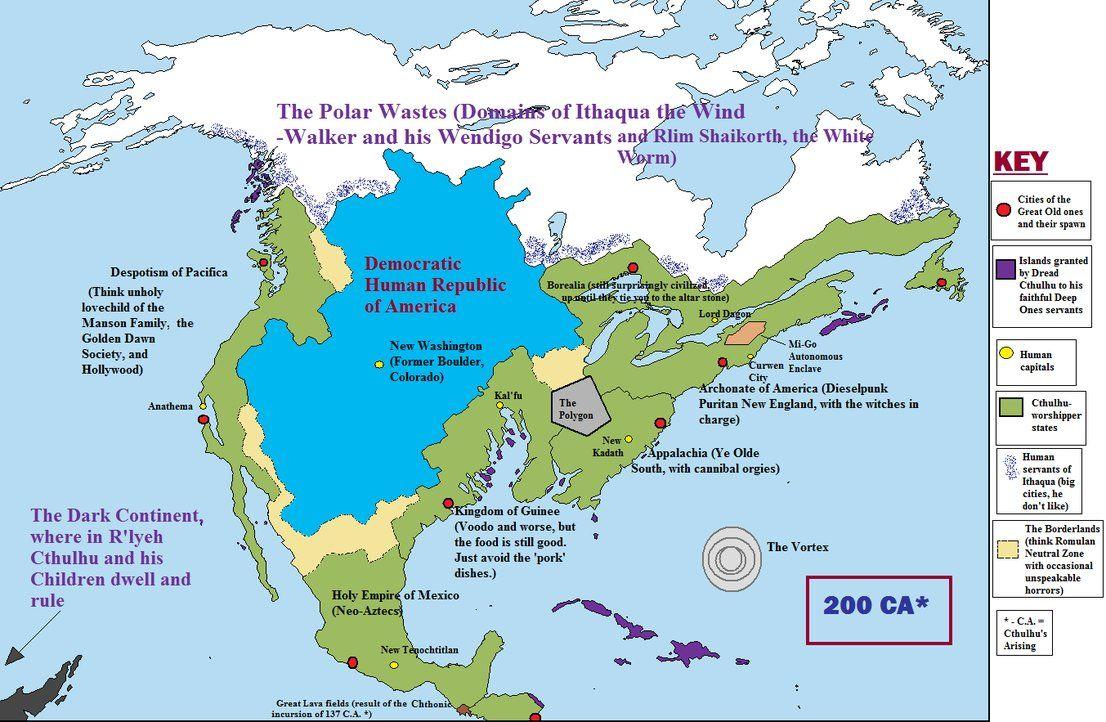 Avidya World Map.Cthulhu S North America By Quantumbranching Lovecraft Pinterest