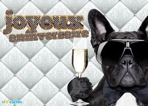 carte anniversaire chien noir