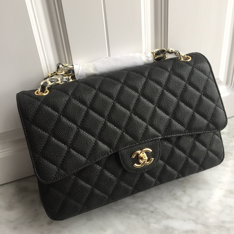 db4aebb8ae9 Chanel 2.55 classic flap bag jumbo size caviar black gold Chanel Jumbo  Caviar