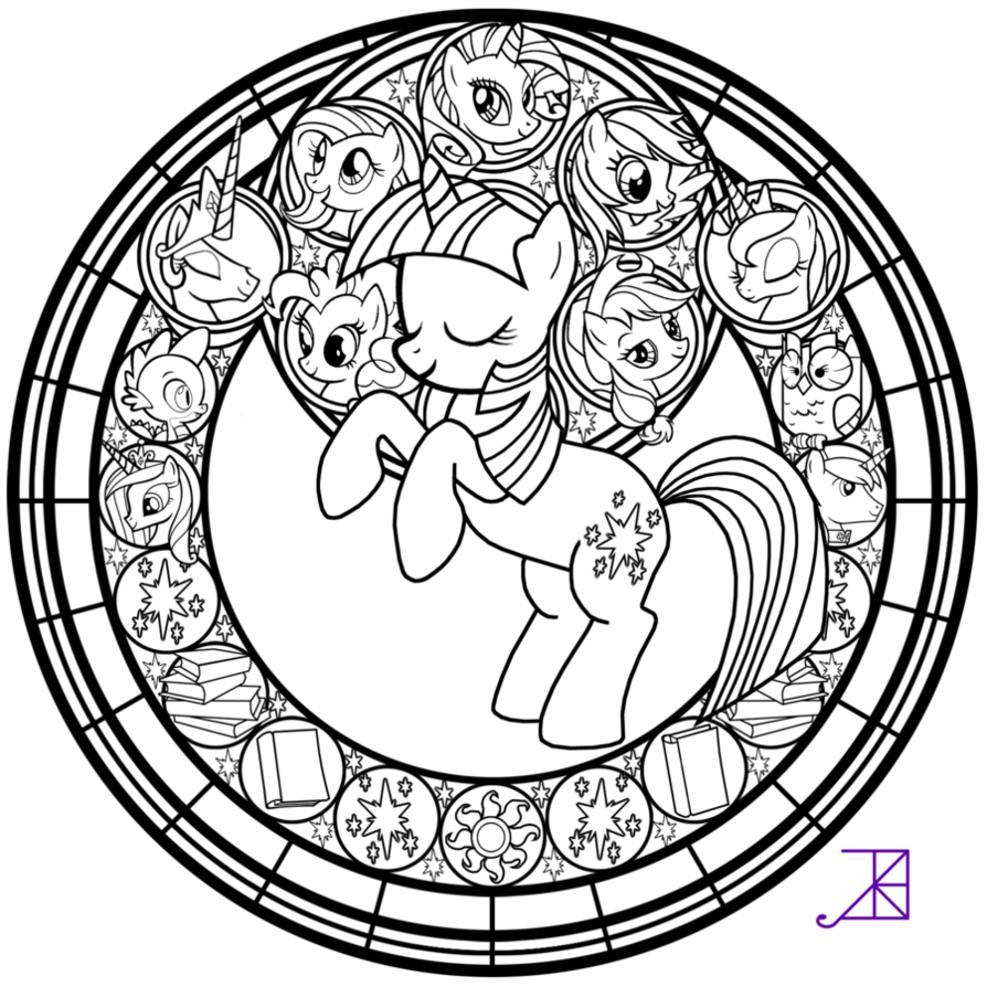 Stained glass twilight sparkle line art by akiliamethyst on