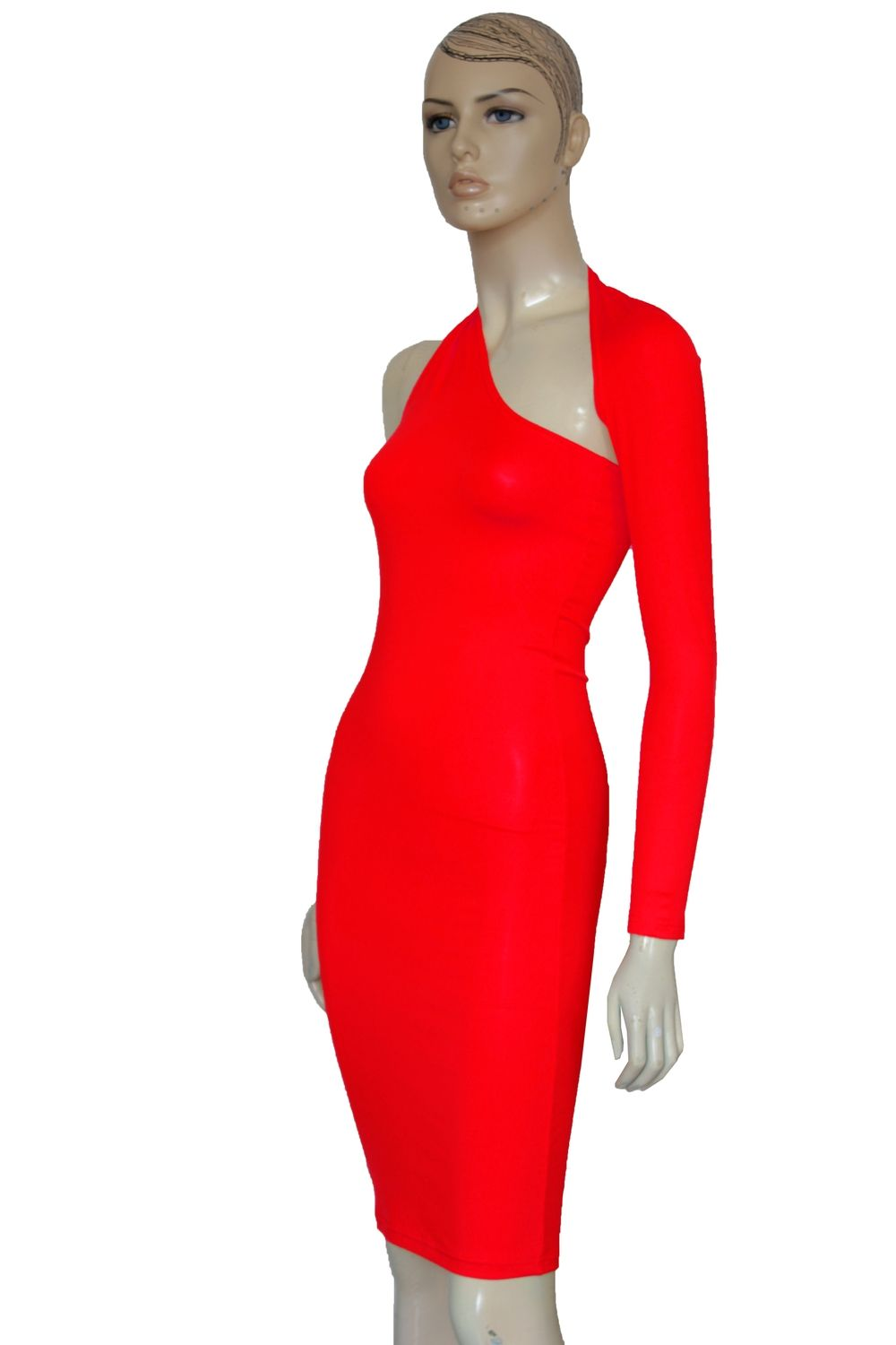 One shoulder pencil dress red long sleeve bodycon open back casual