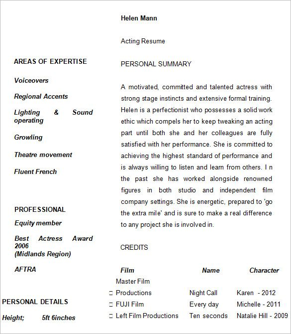 Acting Resume Template Example , How to Create a Good Acting - resume template example