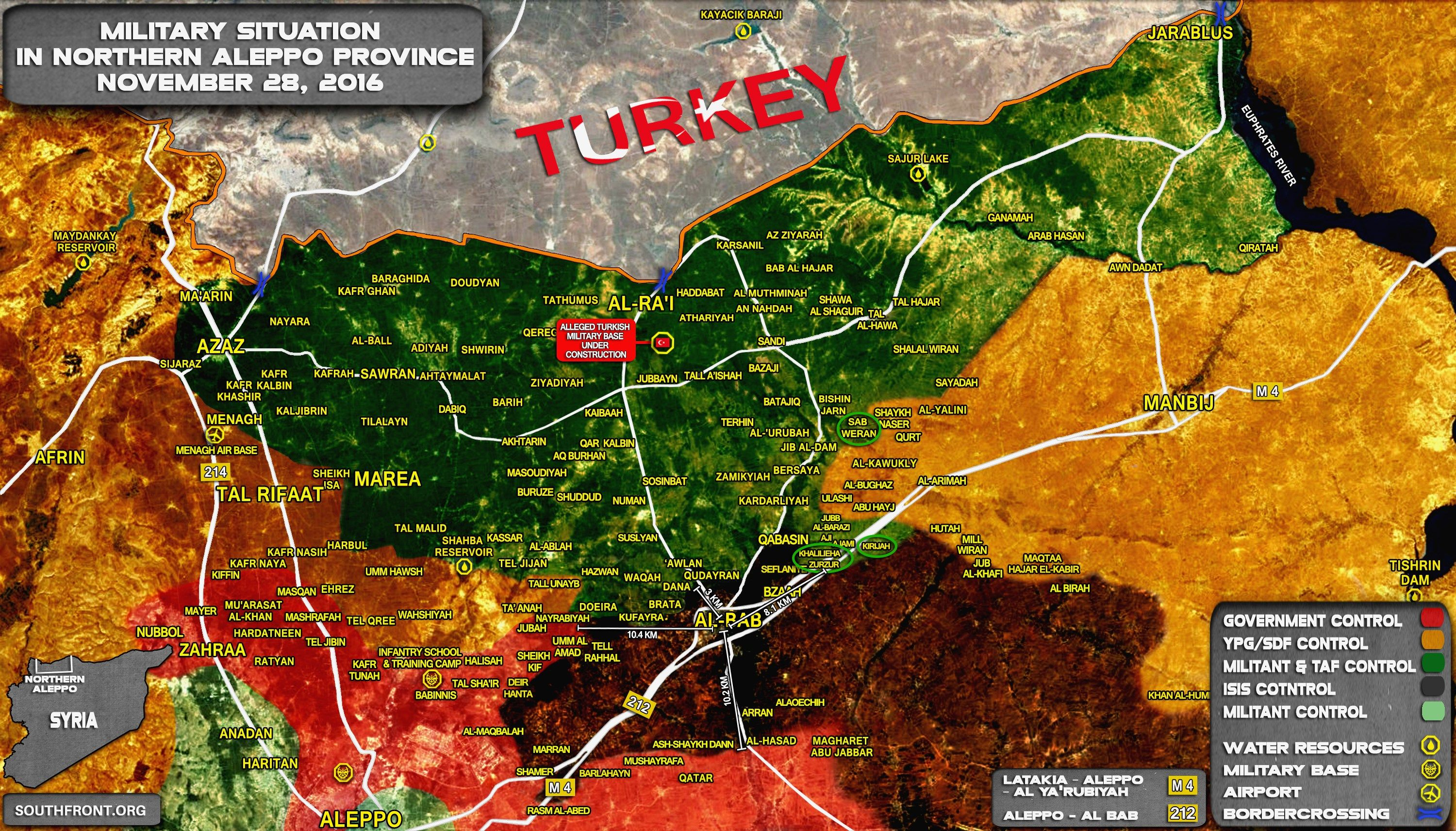 Russia Map Airports%0A Syria Map Update  Military Situation in Northern Part of Aleppo Province on  November       Russia News Now