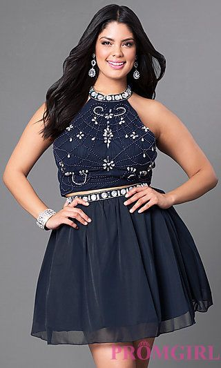 eafdaeb3daccd High Neck Two-Piece Plus-Size Short Dress at PromGirl.com