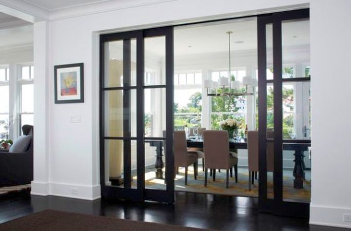 Modern Sliding Gl Door Designs With Dark Wood Frame