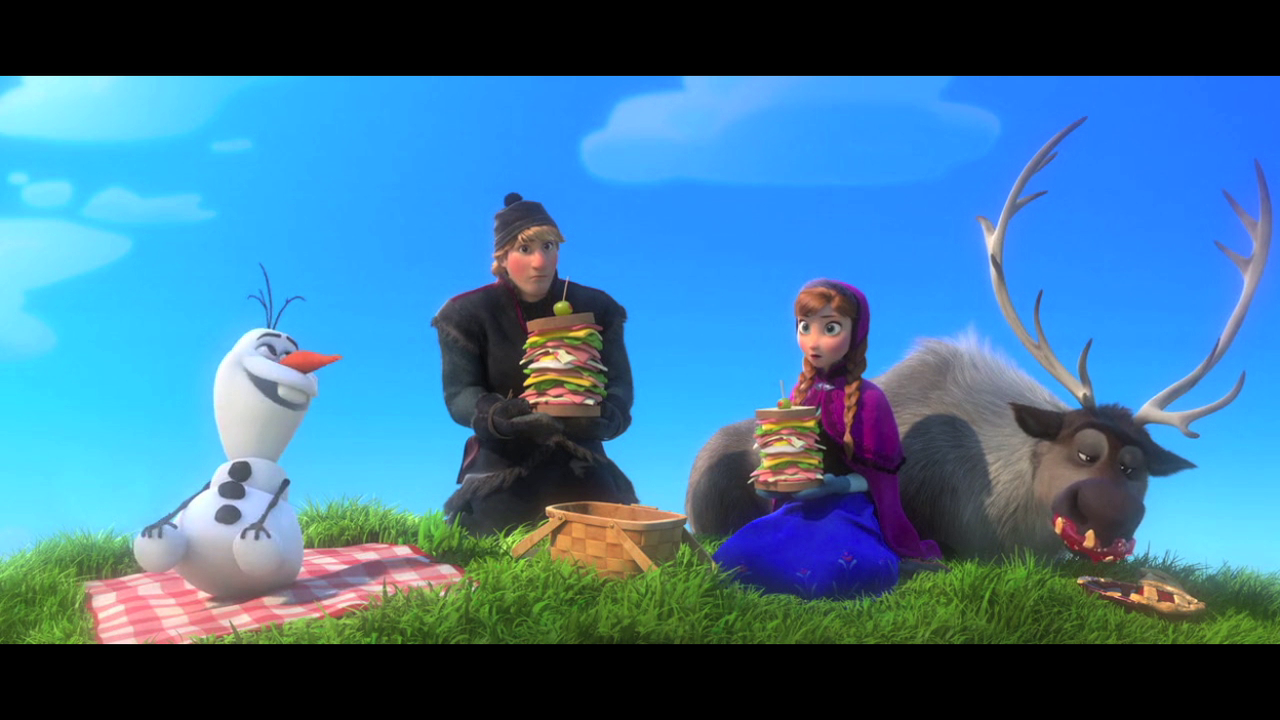 Anna, Kristoff, Olaf and Sven having a picnic in Frozen!  http://sh.st/ruuND