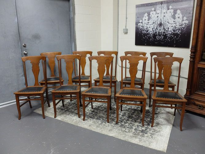 Antiques By Design - T Back Quartered Oak Dining Chairs - Set of 10 - Antiques By Design - T Back Quartered Oak Dining Chairs - Set Of