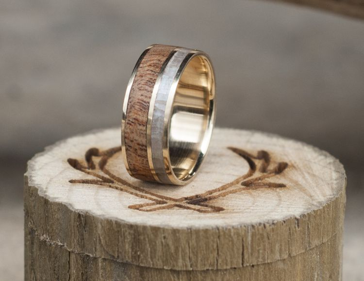 REDWOOD MOTHER OF PEARL WEDDING BAND available in titanium