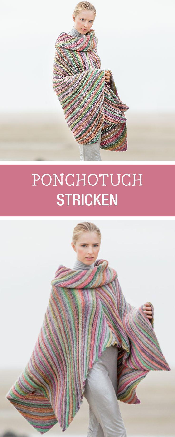 DIY-Anleitung: Farbenfrohes Ponchotuch und passenden Loop stricken ...