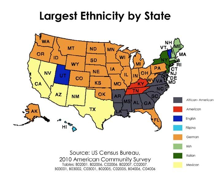 LARGEST ETHNICITY BY STATE The Not So United States - Us map by ethnicity