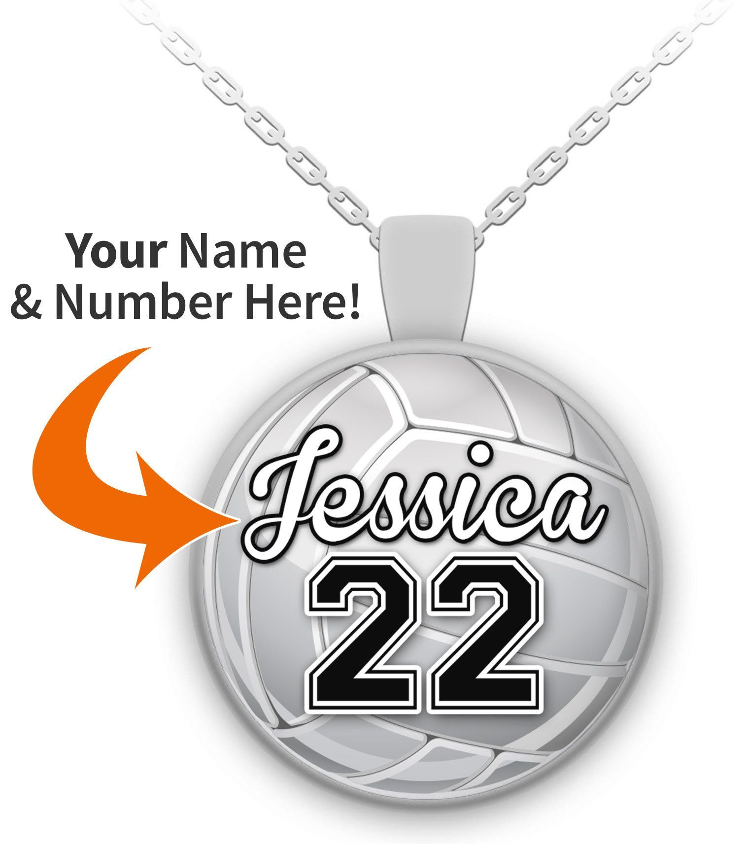 Personalized Custom Made Volleyball Pendant Necklace Softball Necklace Volleyball Necklace Soccer Necklace