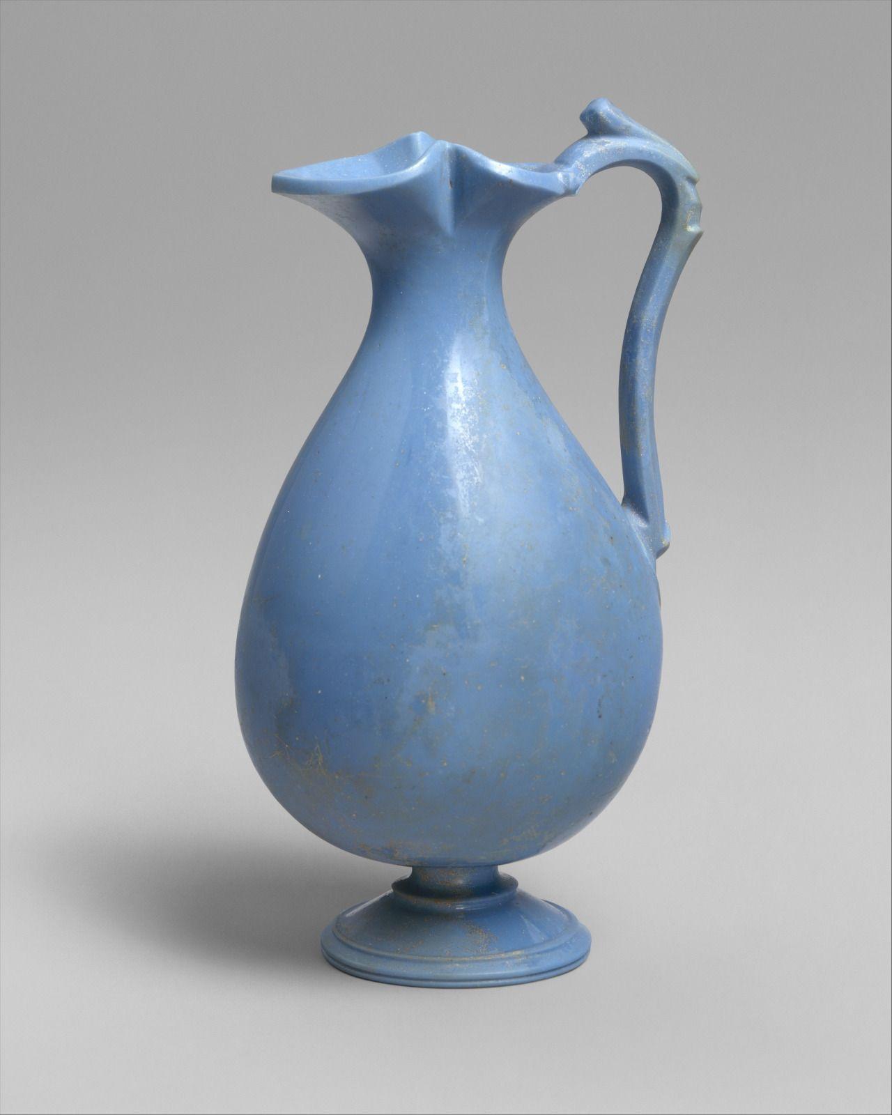 Roman, Glass oinochoe, 1st century BC-1st century AD (source).