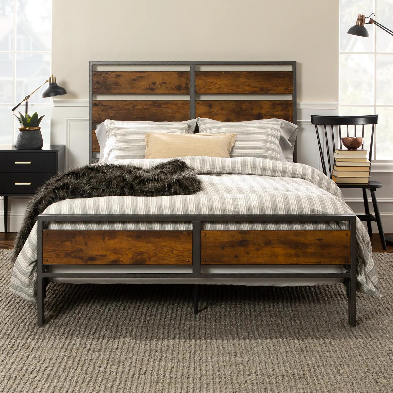 Brown Metal Wooden Plank Queen Bed Bedroom Furniture Beds Furniture Rustic Bedding