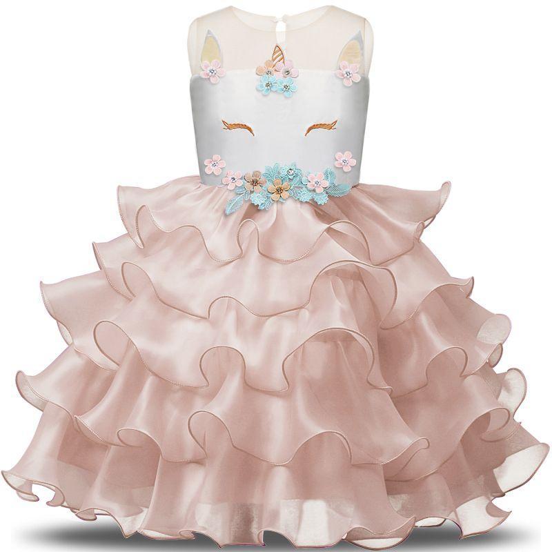 d5d237c38d Fadas Unicórnio Júnior Vestido Roupa Infantil Vestidos Crianças Vestidos de  Aniversário Para A Cerimônia de Casamento Verão 2018 Roupas Festa 3-8Y