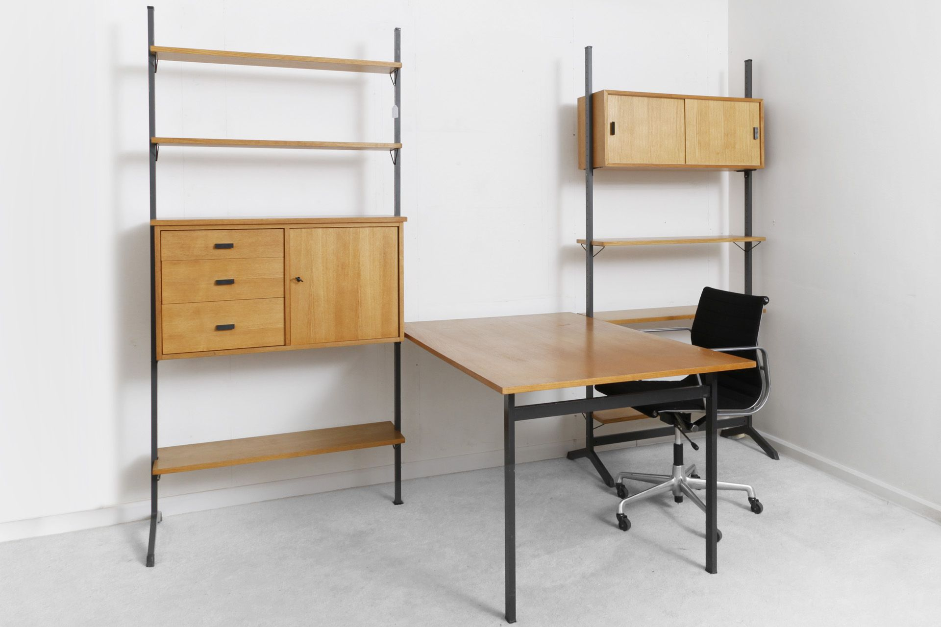 Shelf system by Pira forming a complete small office. SOLD
