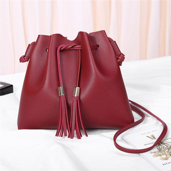 4740a365dd43f Women String PU Leather Bucket Bags Solid Leisure Crossbody Bag