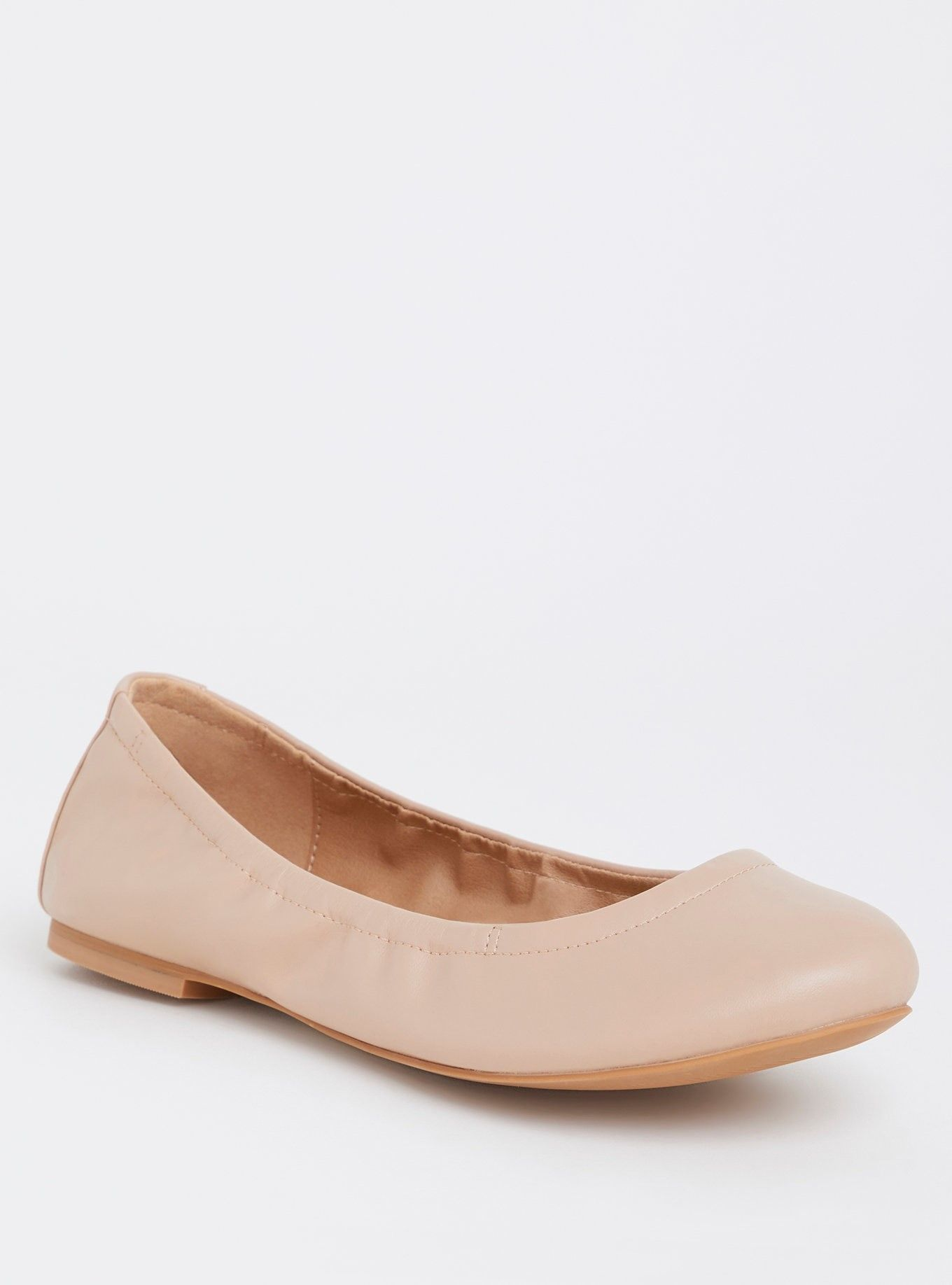 2829419826 Nude Faux Leather Scrunch Ballet Flat (Wide Width) - A classic pair of faux  leather ballet flats features a rounded toe and elasticized back for the  perfect ...