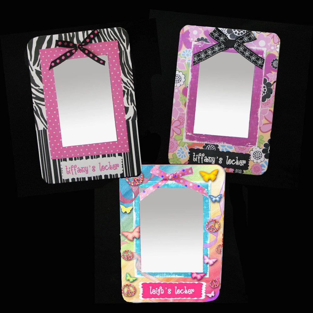 Girls Locker MIrror Personalized Magnetized Board. $10.99, via Etsy.  http://www.jnall3.etsy.com/