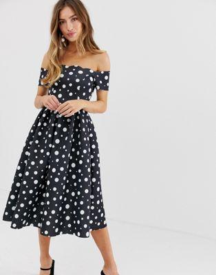 9e82cb1a7 DESIGN Scallop neckline spot print prom midi dress in 2019 | Clothes ...
