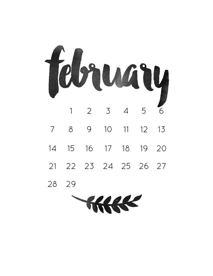 February 2019 Calligraphy Calendar monthly freebie | freebies [just for you, from us]. | February