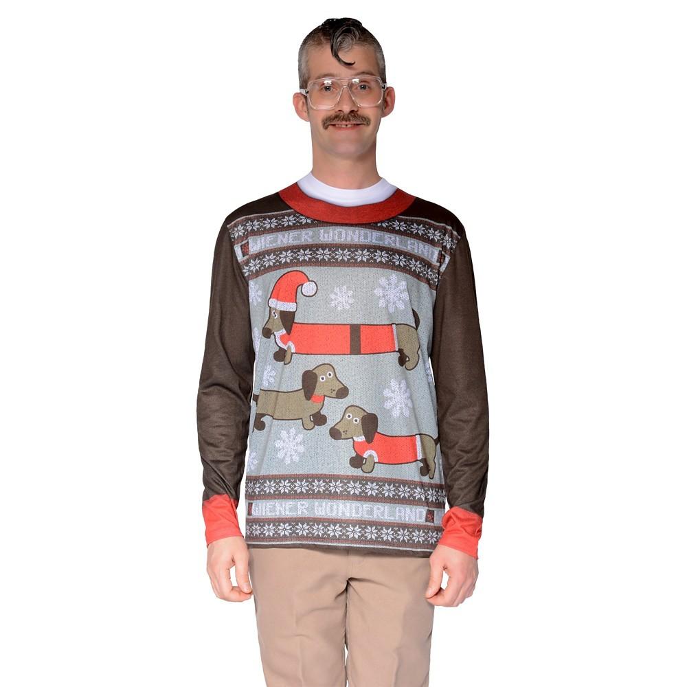 Mens\' Ugly Christmas Sweater Wiener Dog Wonderland, Long Sleeve T ...