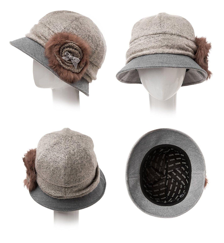 Cloche Round Hat For Women 1920s Fedora Bucket Vintage Hat Flower Accent -  69160 greypink - C6120XDSREV 548085926a7d