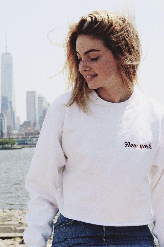 Brandy Melville Nancy New York Embroidery Sweatshirt Graphics