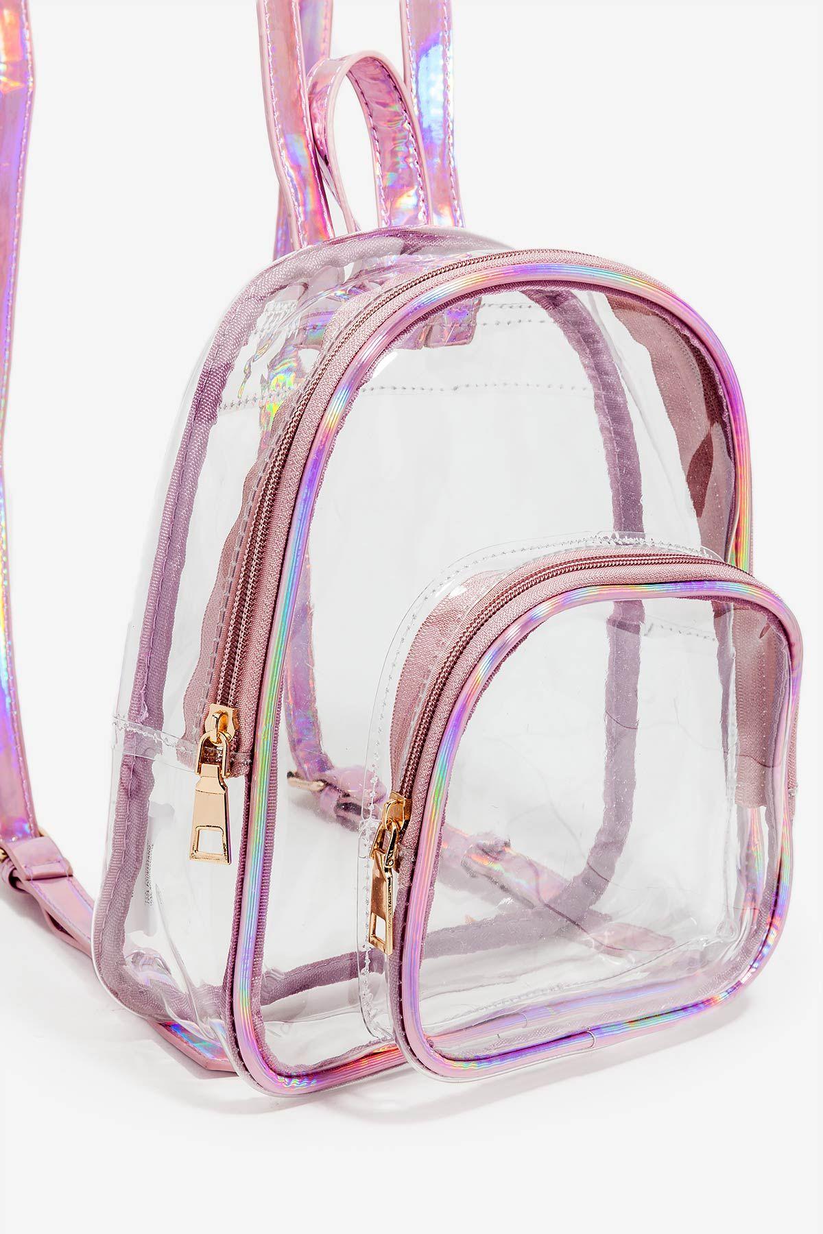b6874b9a8035 Women's Backpacks | Holographic Trimmed Clear Mini Backpack | A'GACI ...