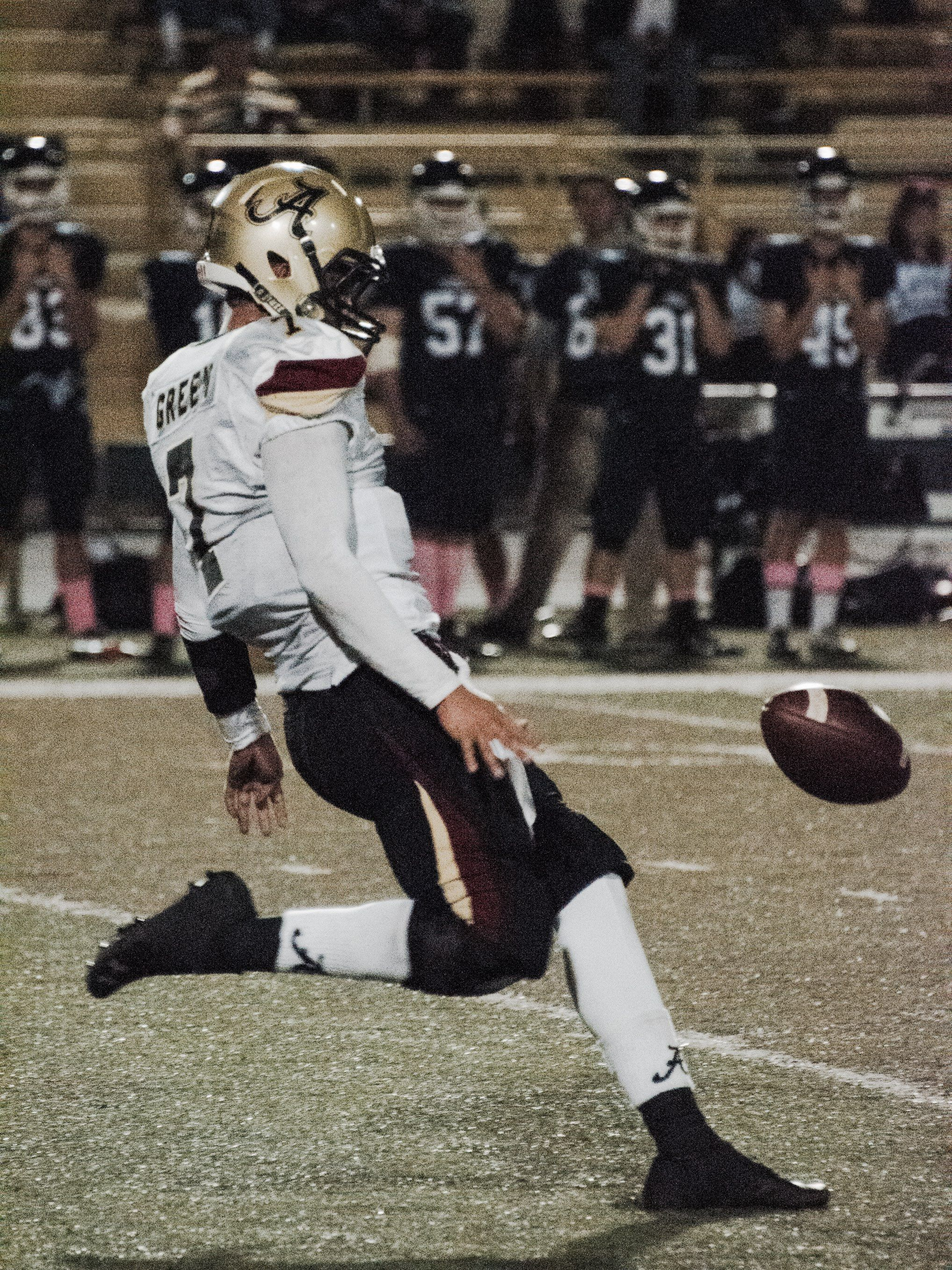 Alemany's Blake Green in mid Punt! Such an awesome