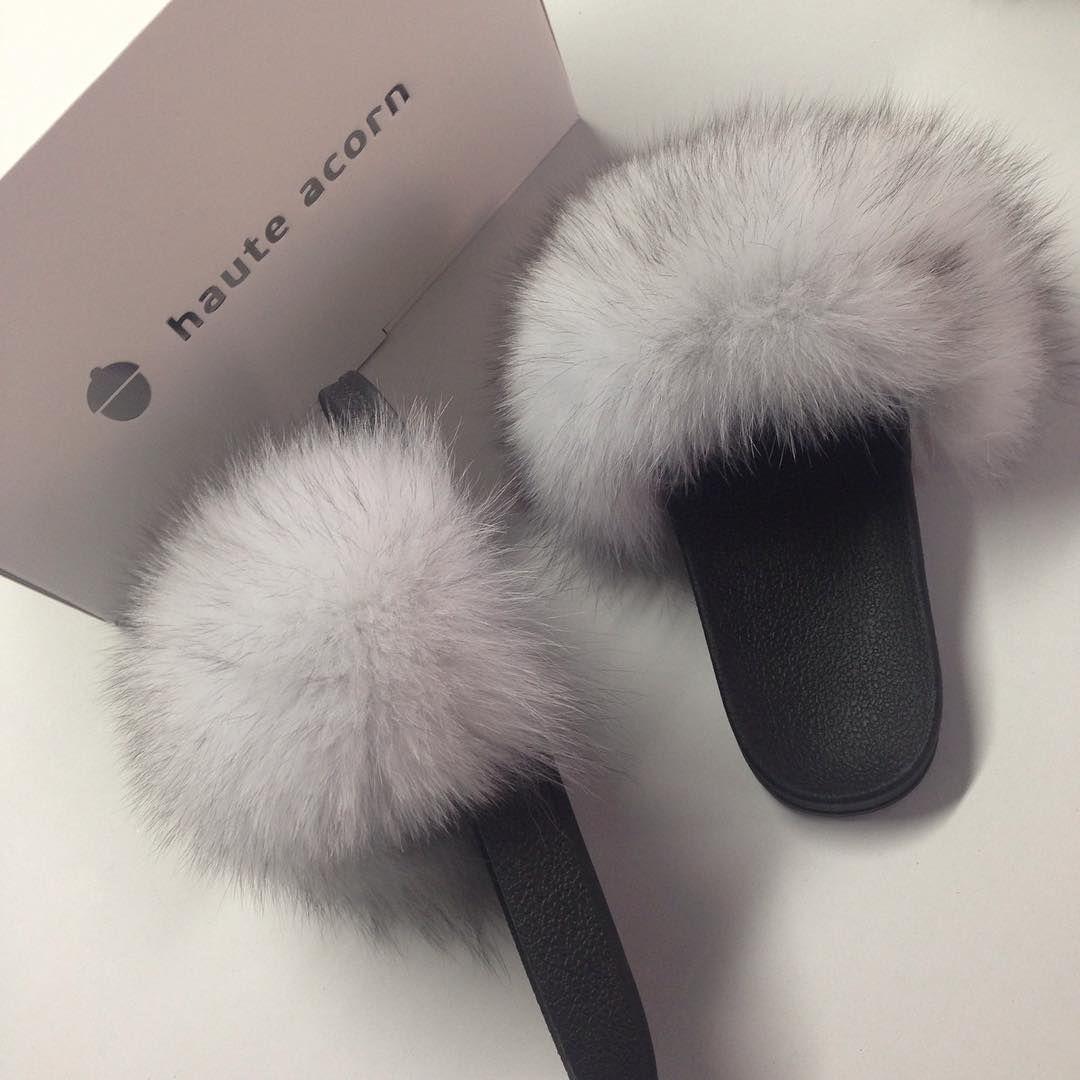 cream fox fur slides in 2018 my style pinterest fur slides