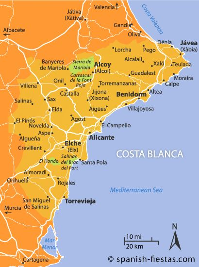 Costa Blanca Map TRAVELSpainPortugal Pinterest Spain