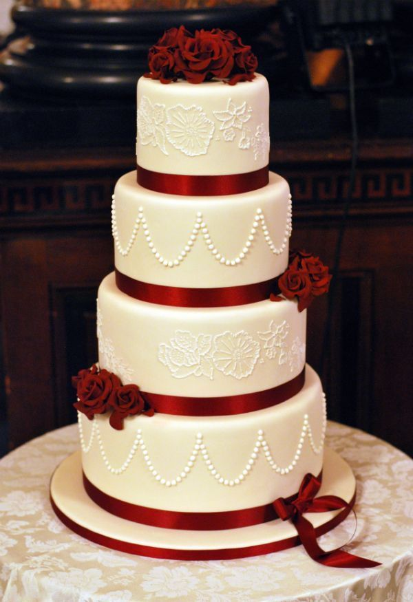 Red And Gold Wedding Cakes Google Search Cake Weddi