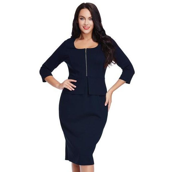 Plus Size Navy Blue Zip-Up Pencil Dress Lookbook Store ($38) ❤ liked on Polyvore featuring dresses, womens plus dresses, navy dress, navy pencil dress, plus size pencil dress and pencil dress