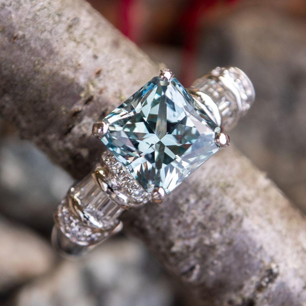 No Heat Montana Sapphire Engagement Ring w/ Diamonds