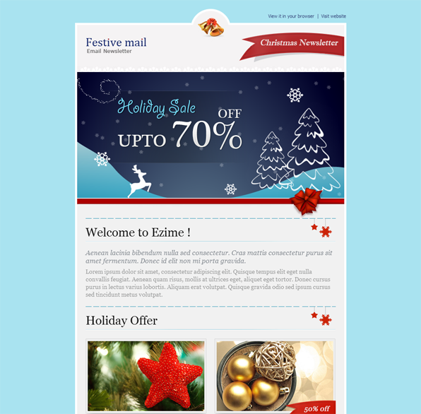 This christmas email newsletter template features 2 header for Christmas newsletter design ideas