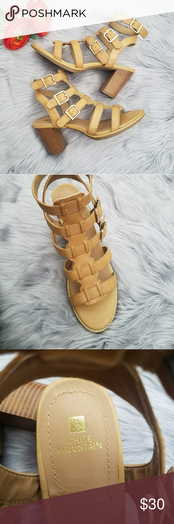 0ec04970e05 White Mountain Gemmy Sandals NWOT White Mountain s Gemmy sandals capture a  nostalgic feel with a chunky heel and strappy silhouette that s great with  jeans ...