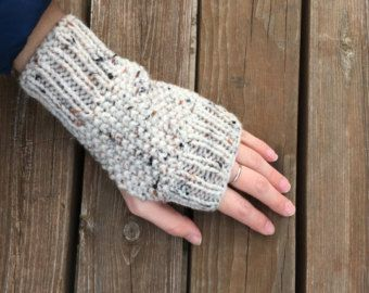Items similar to Striped Blue Hand Knit Fingerless Mittens on Etsy