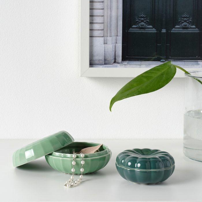 Vanligen Decorative Box Set Of 2 Dark Green En 2020 Boite Decorative Decorer Boite Ikea
