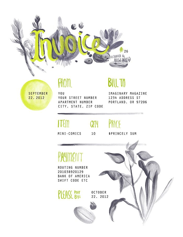 creative invoice template instant download receipt by papernoon, Invoice templates