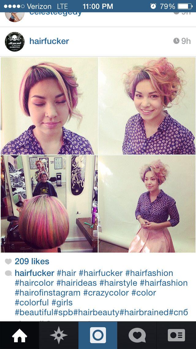 Asymmetric creative bob with pastel haircolor